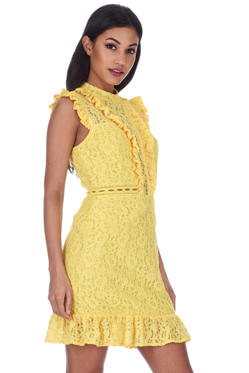 51c965705a41 AX Paris Womens Mini Dress Yellow Lace Frill Detail Sleeveless ...