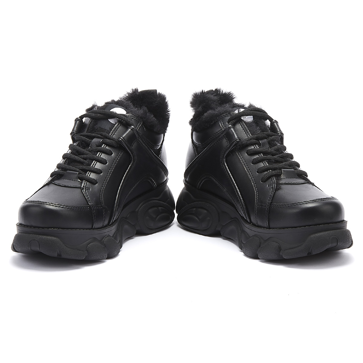 Buffalo Corin Womens Black Fur Trainers Ladies Casual Sport Shoes