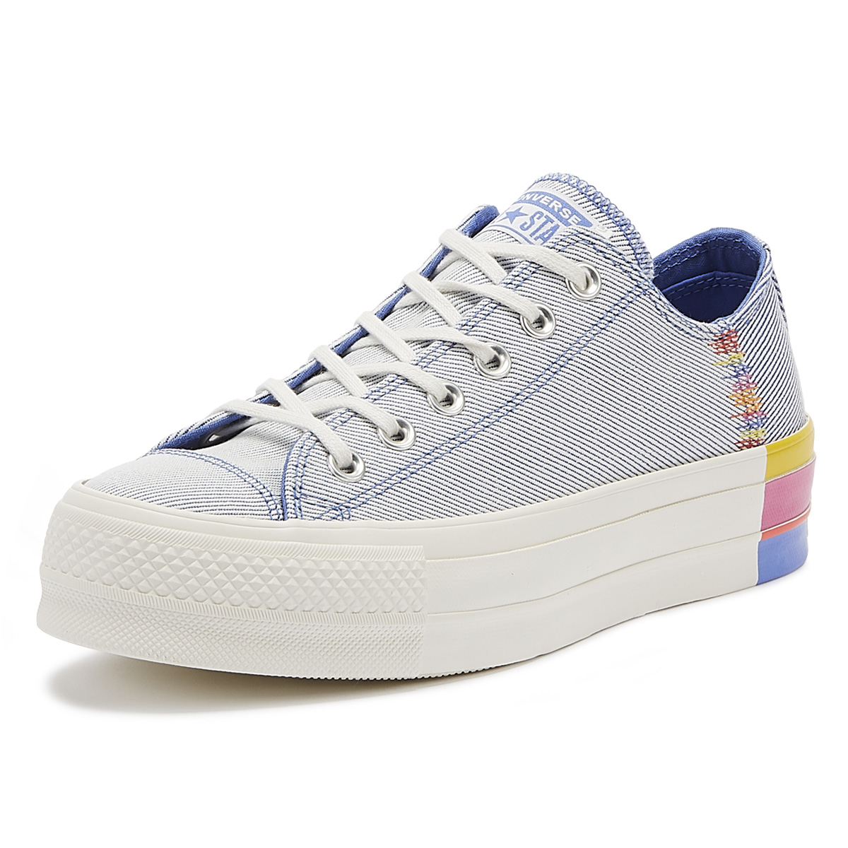 Details about Converse Chuck Taylor All Star Lift Rainbow Womens Blue Ox Trainers Skate Shoes