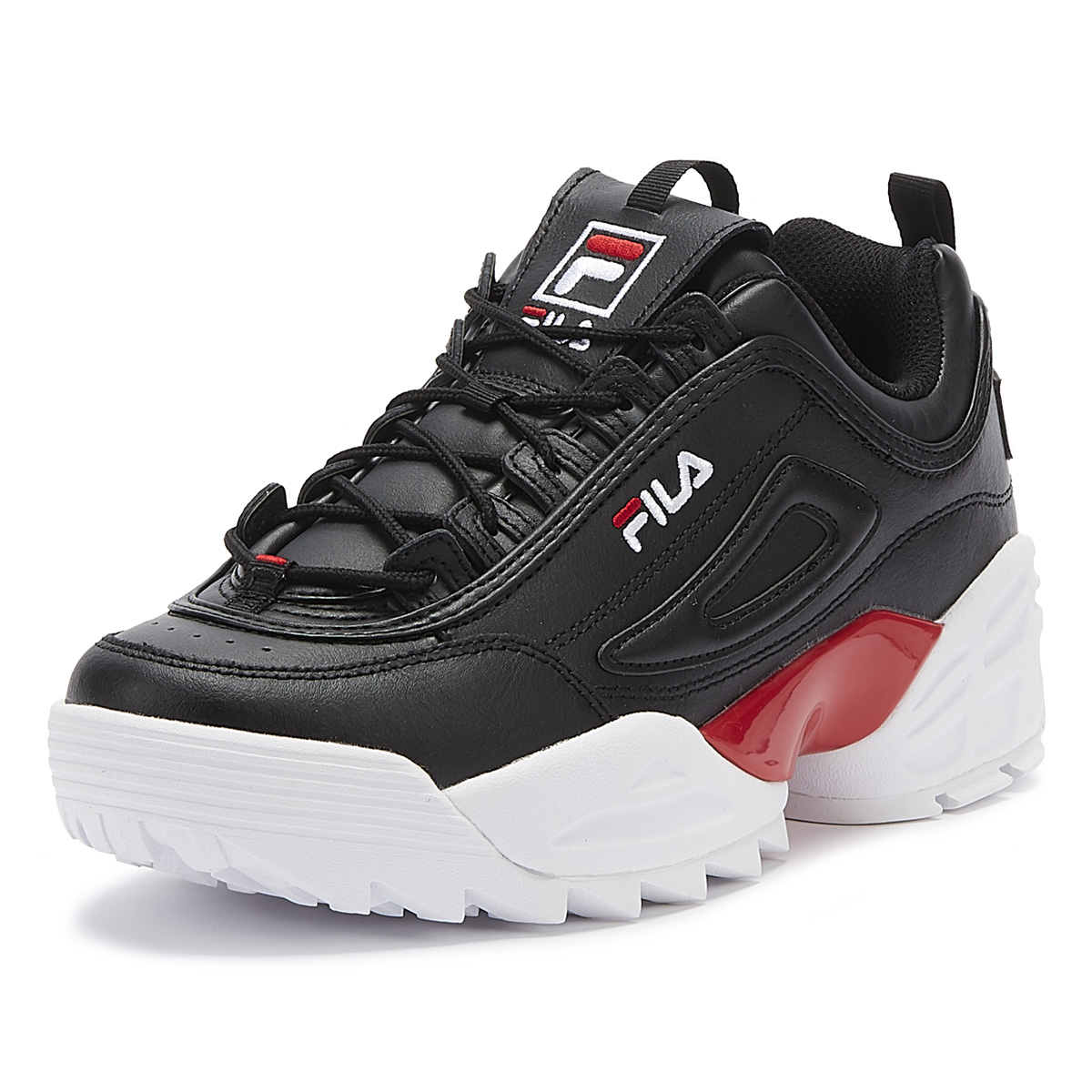 Details about Fila Disruptor II Lab Mens Black Red White Trainers Lace Up Casual Shoes