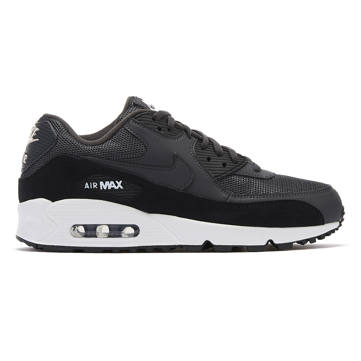 Details about Nike Air Max 90 Essential Mens Black White Trainers Lace Up Sport Casual Shoes