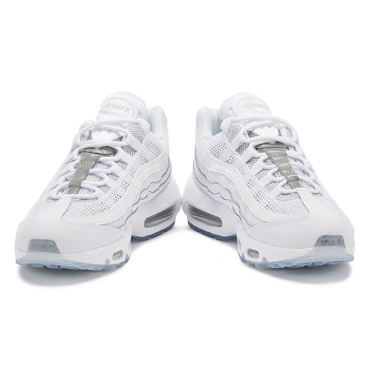 Détails sur Nike Air Max 95 Essential Blanc Homme Argent Baskets À Lacets Sport Chaussures De Loisirs afficher le titre d'origine