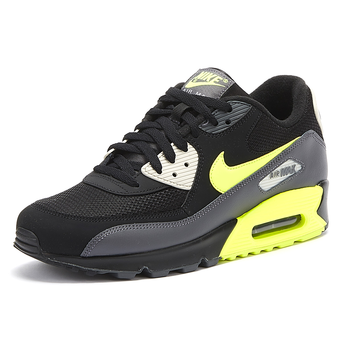 new product ce59f 9714b Details about Nike Air Max 90 Essential Mens Black / Volt Trainers Lace Up  Sport Casual Shoes