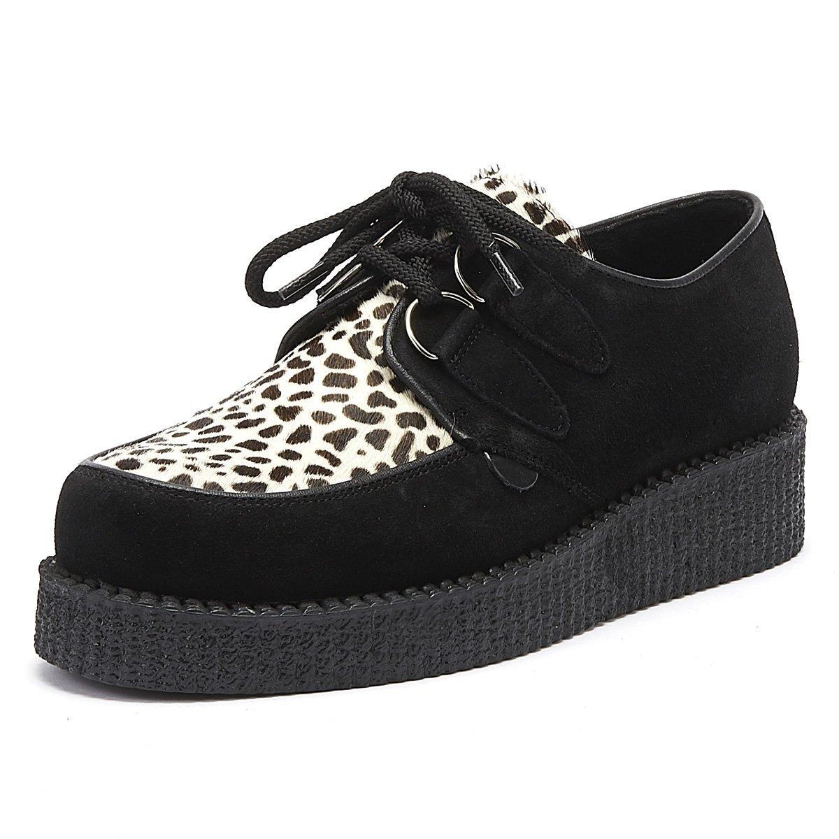Details about Underground Wulfrun Creeper Womens Black Leopard Suede Ladies Platform Shoes