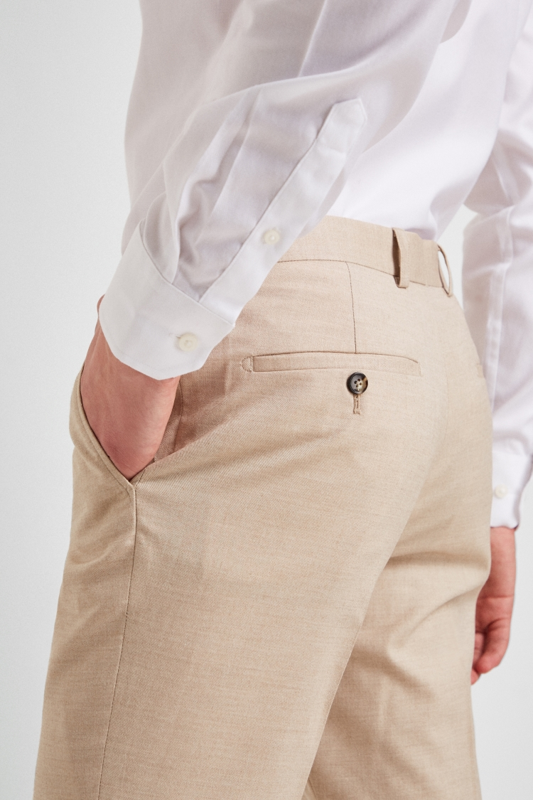 Moss London Skinny Fit Latte Unstructured Mens Suit Trousers Formal Pants