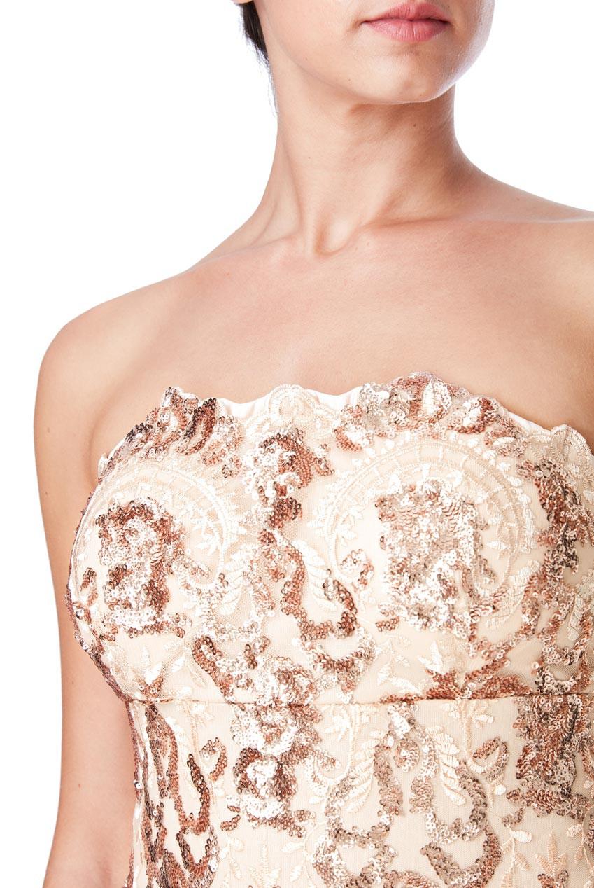 e909a283 Goddiva Womens Bandeau Maxi Dress Sequin Embroidered Mermaid ...