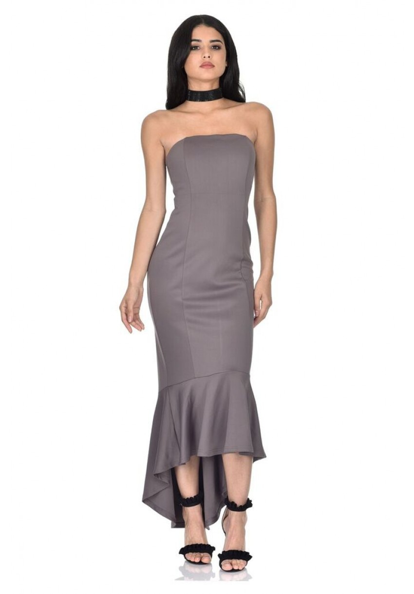 AX Paris Womens Pewter Maxi Dress Bandeau Asymmetric Mermaid ... 0439b94ef9
