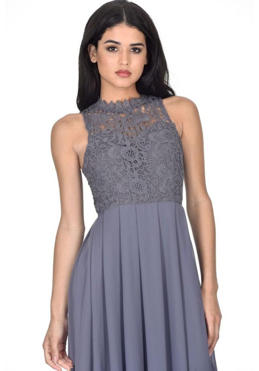 b46b67865d7e0 AX Paris Womens High Neck Maxi Dress Crochet Lace Top Sleeveless ...