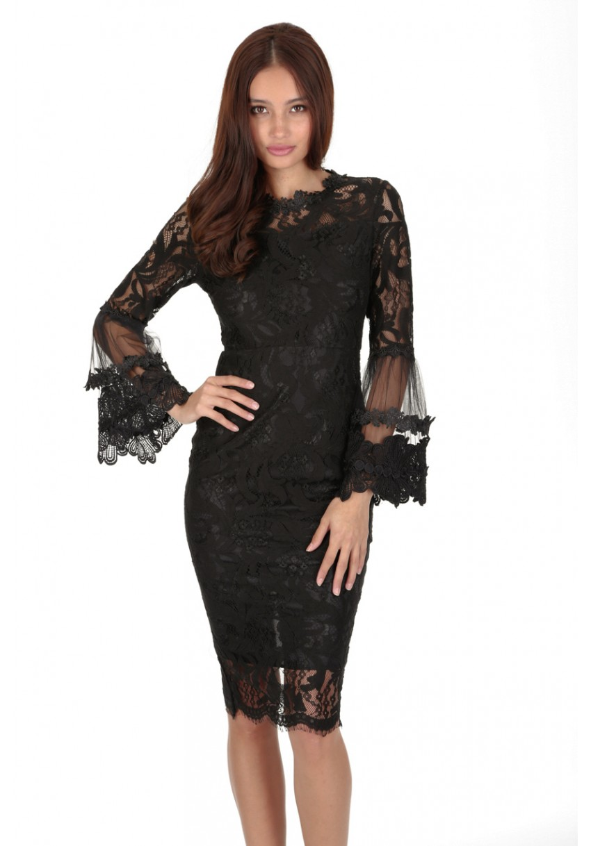 Details about AX Paris Womens Black Frill Lace Midi Dress Long Bell Sleeve  Bodycon Crew Neck 5e3b220863