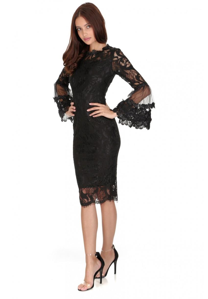 Ax paris black lace strapless bodycon dress