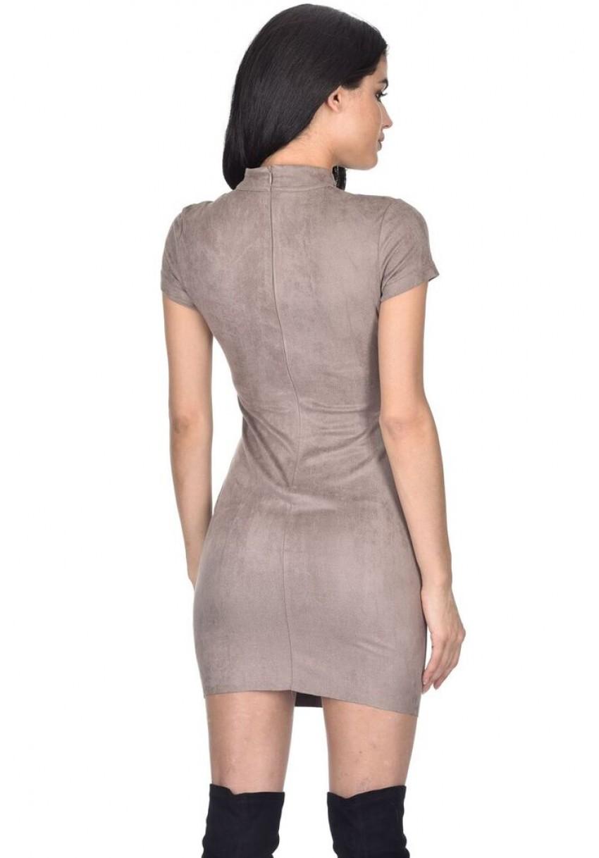 4f48f48c826d AX Paris Womens Faux Suede Mini Dress Lace Detail High Neck Short ...
