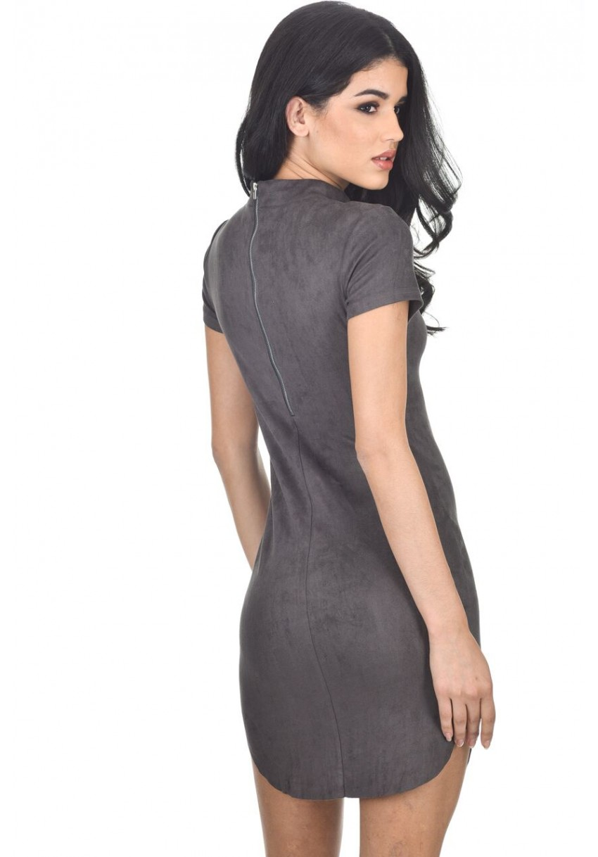fd7731970c7e AX Paris Women Dark Grey Faux Suede Mini Dress Bodycon High Neck Short  Sleeve