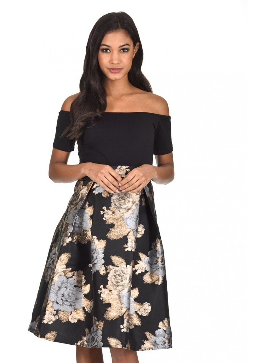 Details about AX Paris Women 2 in 1 Midi Skater Dress Black Bardot Top  Metallic Flowers Skirt 69bb19cc9