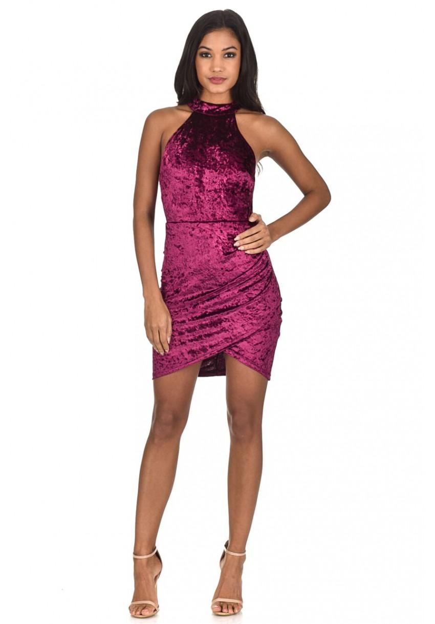 AXParis-Women-Ruched-Velvet-Wrap-Mini-Dress-Halterneck-Sleeveless-Party-Clubwear