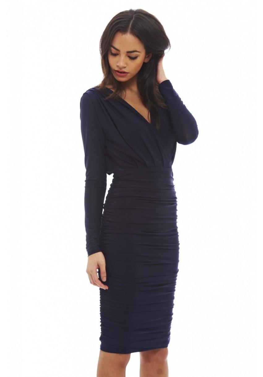 AX Paris Women Navy Blue Ruched Midi Dress Wrap V Neck Long Sleeves ...