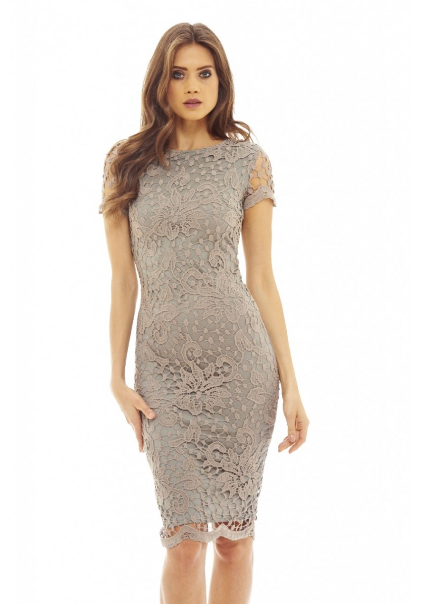 Details about AX Paris Womens Crochet Lace Midi Bodycon Dress 181078725