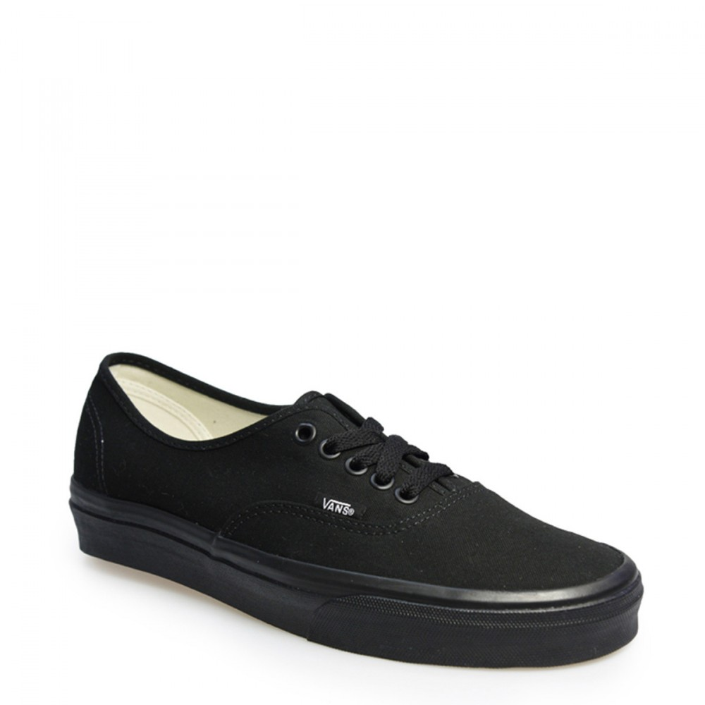 09f9362a14 Details about Vans Unisex Mens Womens All Black LaceUp Authentic Canvas Trainers  Shoes VEE3BKA