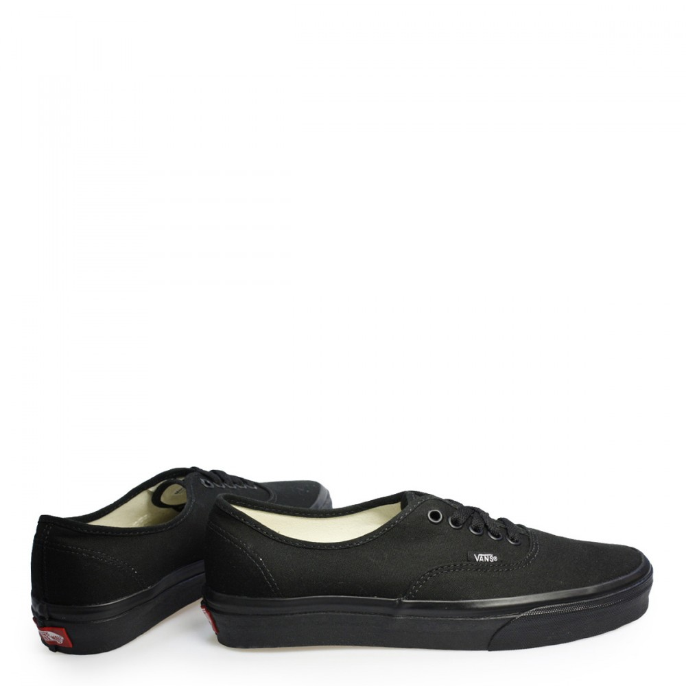 83e3ea0bf75a8a Vans Unisex Mens Womens All Black LaceUp Authentic Canvas Trainers ...