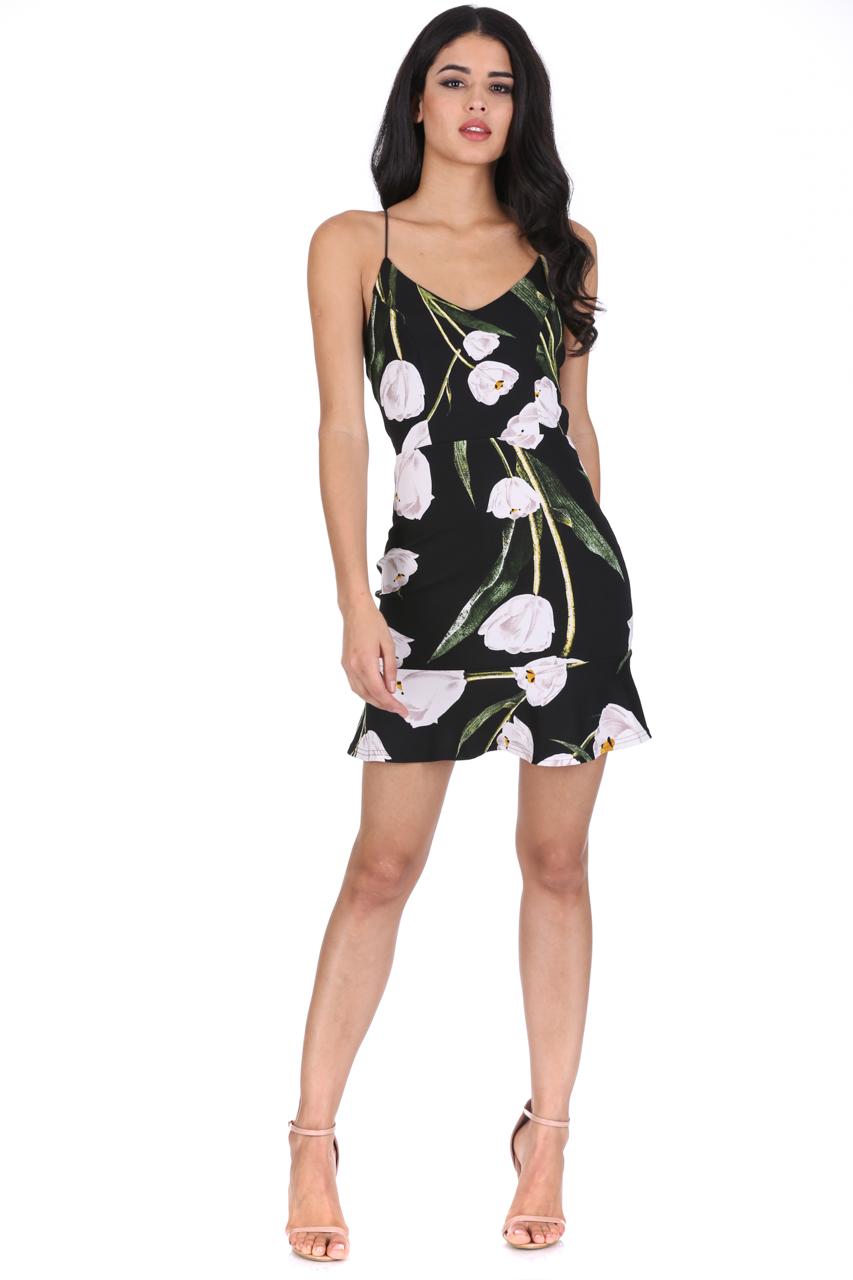 aab175b5cc7a AX Paris Womens Floral Mini Dress Frill Hem Strappy V Neck Summer ...