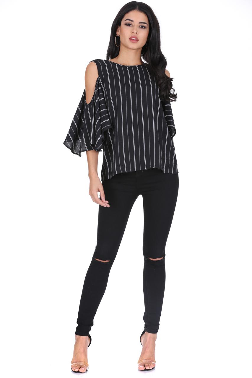 a9699e1dceab9 AX Paris Womens Striped Blouse Cold Shoulder Top Loose Sleeve Shirt Casual