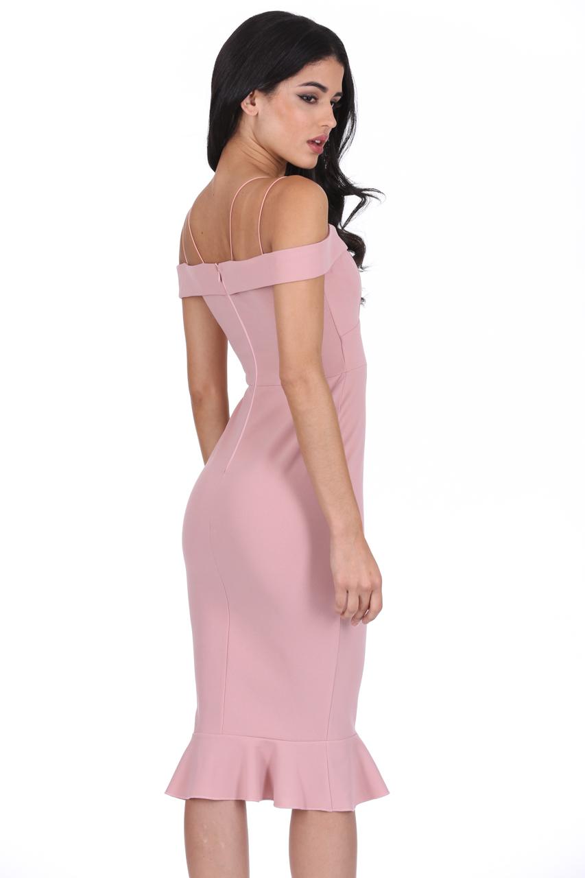 84b57823978 Details about AX Paris Womens Off The Shoulder Midi Dress Frill Hem Strappy  Bardot Cocktail