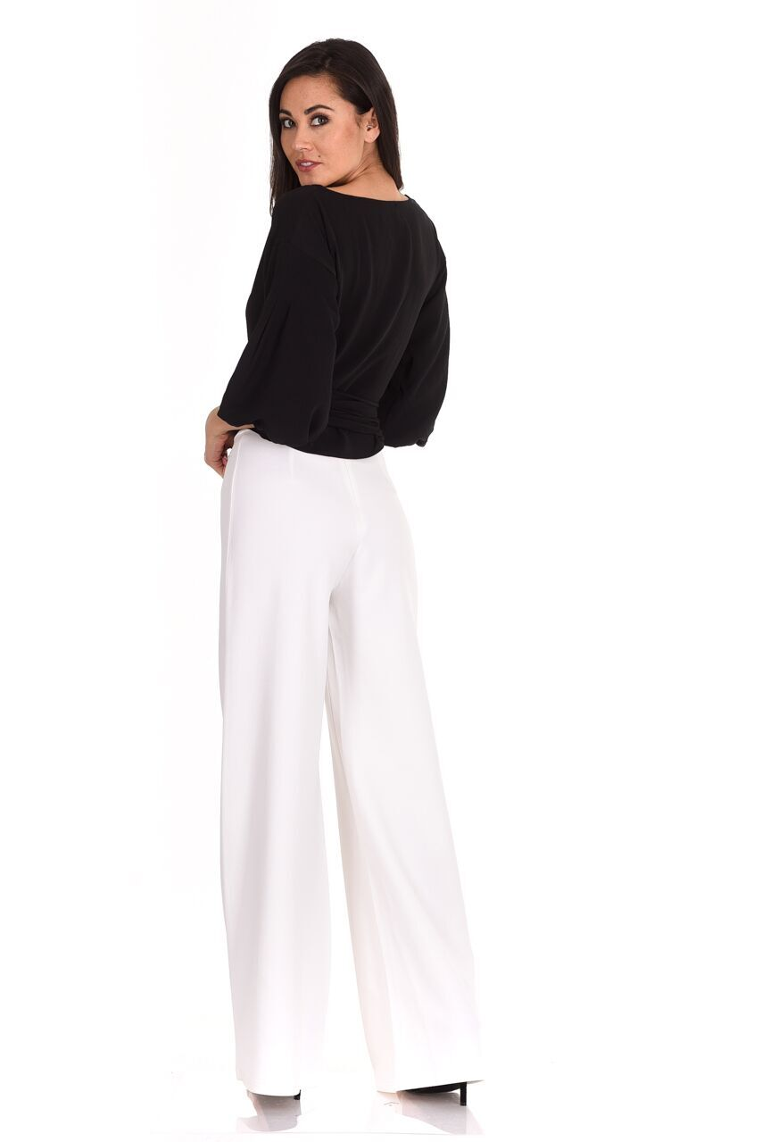 2d30a7aa7f09d AX Paris Womens Cream Flared High Waisted Trousers Ladies Party Pants
