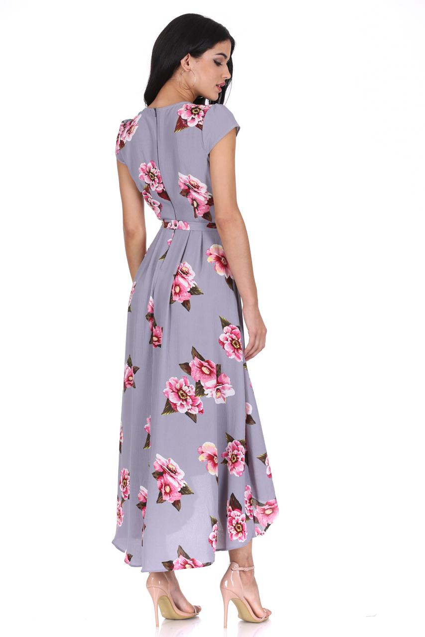 d0a2e672cbc28 AX Paris Womens Grey Floral Midi Dress Tie Waist Short Sleeve Wrap V Neck  Summer