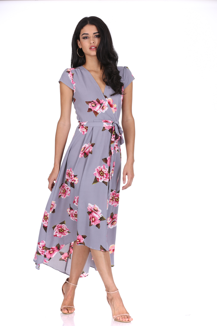 41bf869eaf AX Paris Womens Grey Floral Midi Dress Tie Waist Short Sleeve Wrap V Neck  Summer