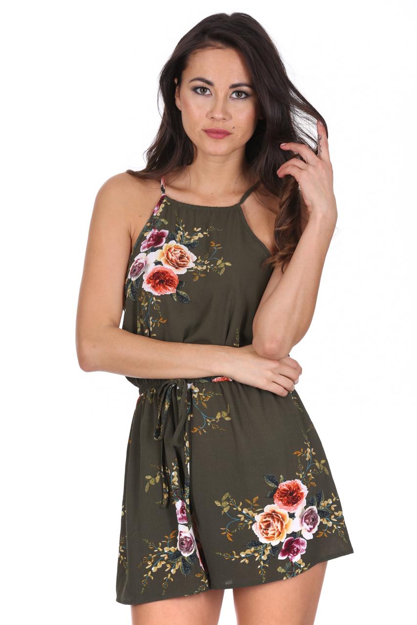 dff54b201220 AX Paris Khaki Floral Playsuit Strappy High Neck Tie Waist Shorts Hot Pants