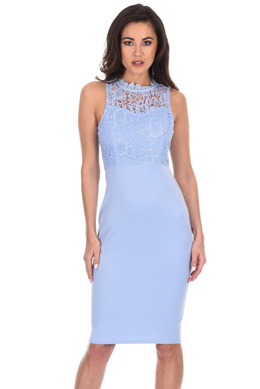 26a2c85333 AX Paris Women Bodycon Midi Dress Crochet Lace High Neck Wedding Guest  Cocktail