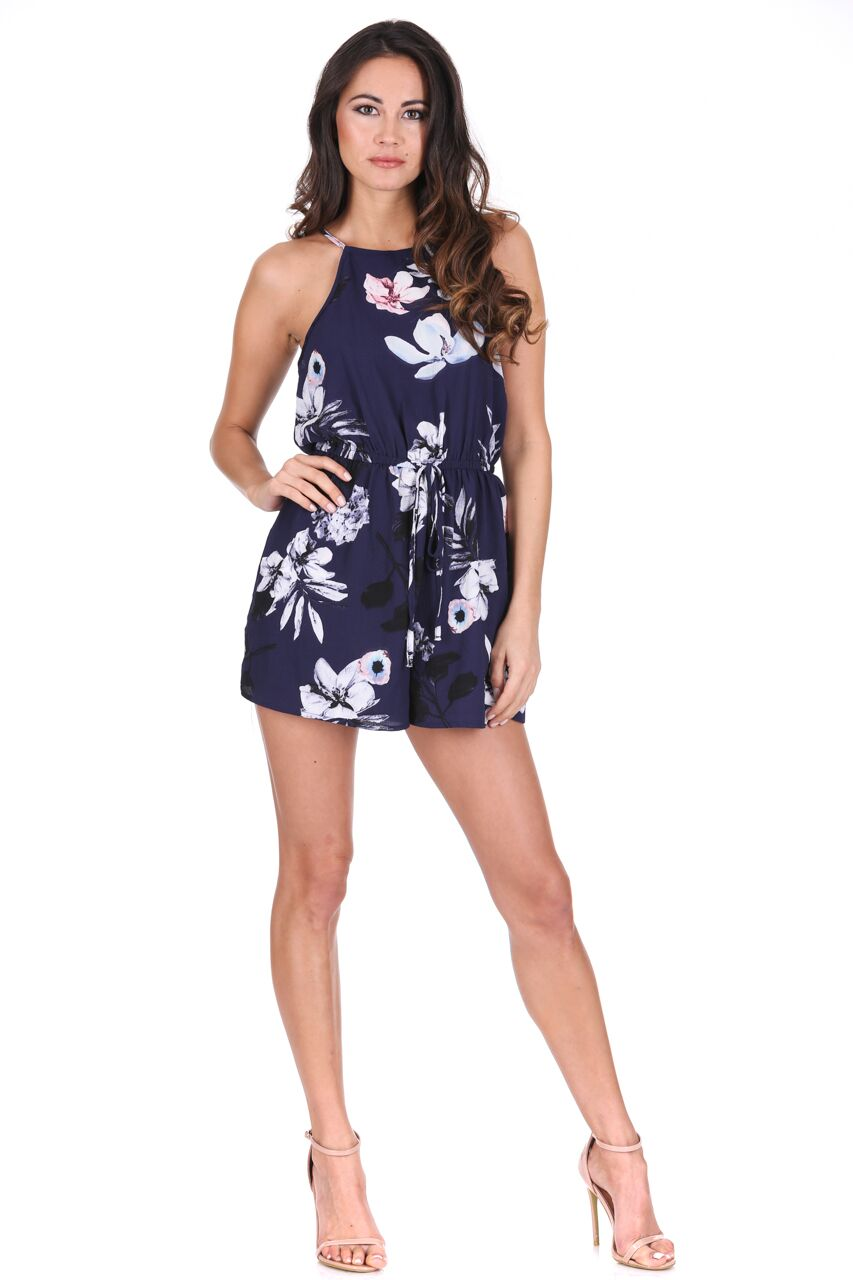 c28431be7e AX Paris Floral Navy Playsuit Strappy High Neck Shorts Tie Waist Hot ...