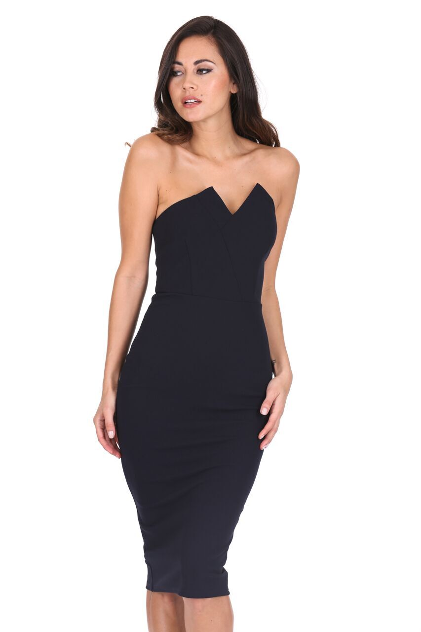 Details about AX Paris Women Notch Front Midi Dress Bandeau Strapless  Bodycon Cocktail Party eb81ea6b1