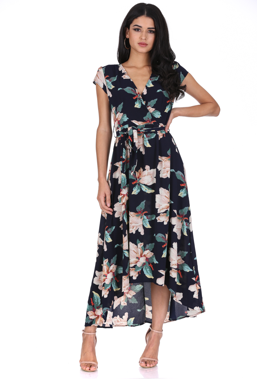 ec72fec1b5dd AX Paris Womens Floral Maxi Dress Wrap V Neck Cap Sleeve Tie Waist ...