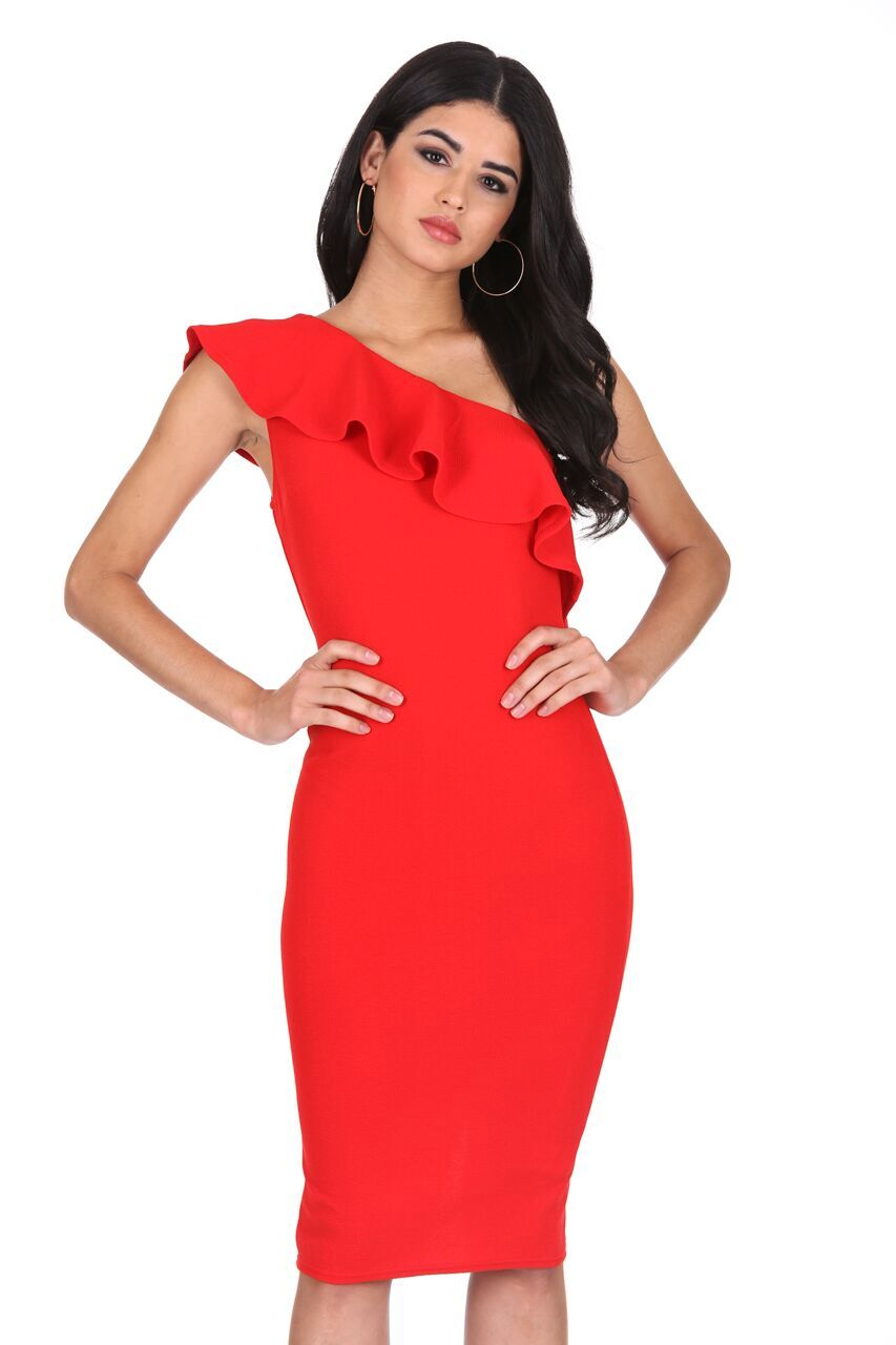 Details about AX Paris Womens Red Asymmetric Frill Midi Dress One Shoulder  Bodycon Cocktail 4796f6b943