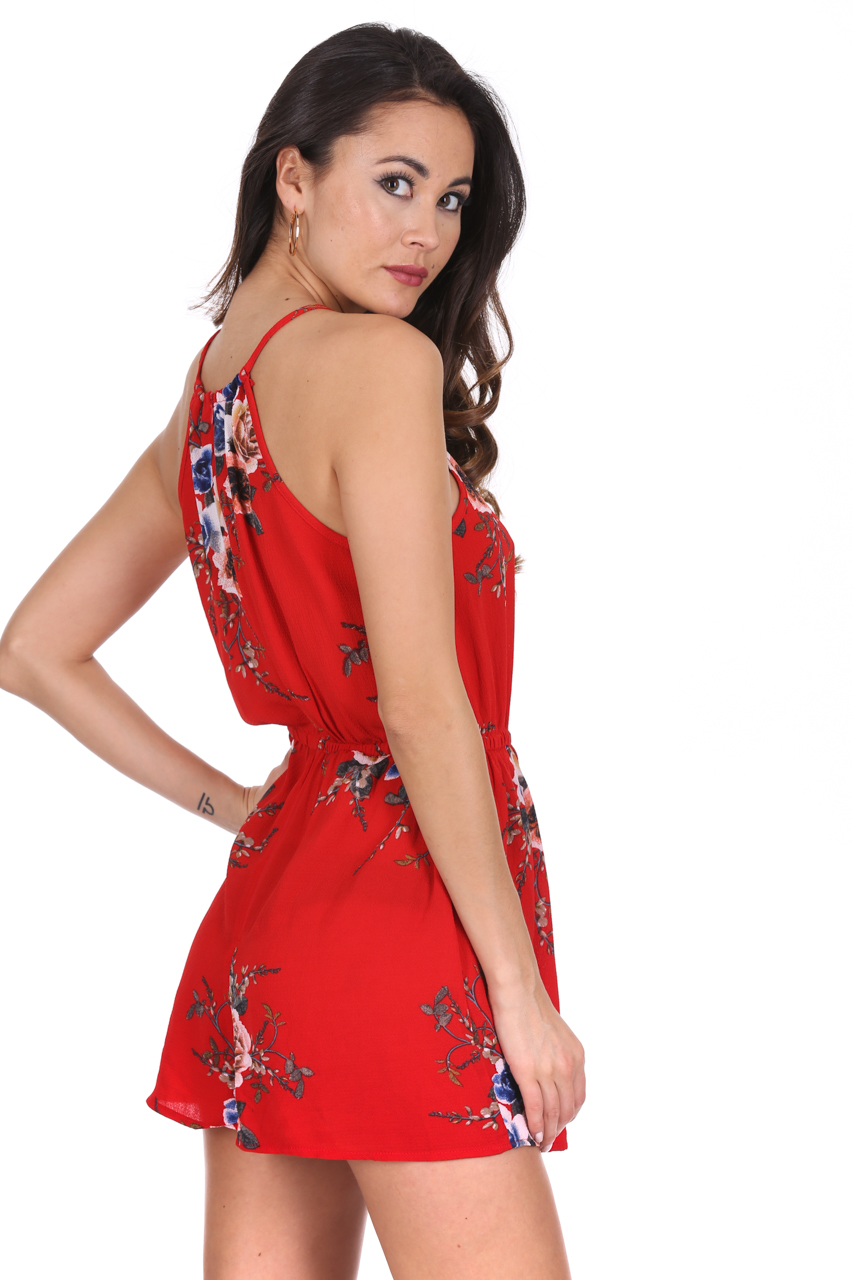 d5ab41673dbf AX Paris Red Floral Playsuit Strappy High Neck Tie Waist Shorts Hot Pants