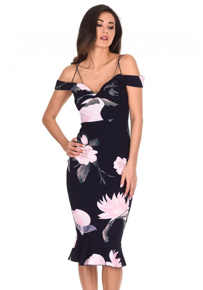 RRP £32.99 Navy Floral Bardot Midi Bodycon Dress