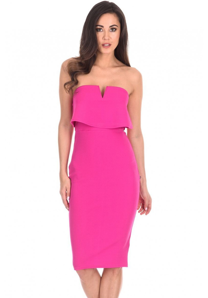 AX Paris Women Notch Front Midi Dress Bardot Bandeau Strapless ...