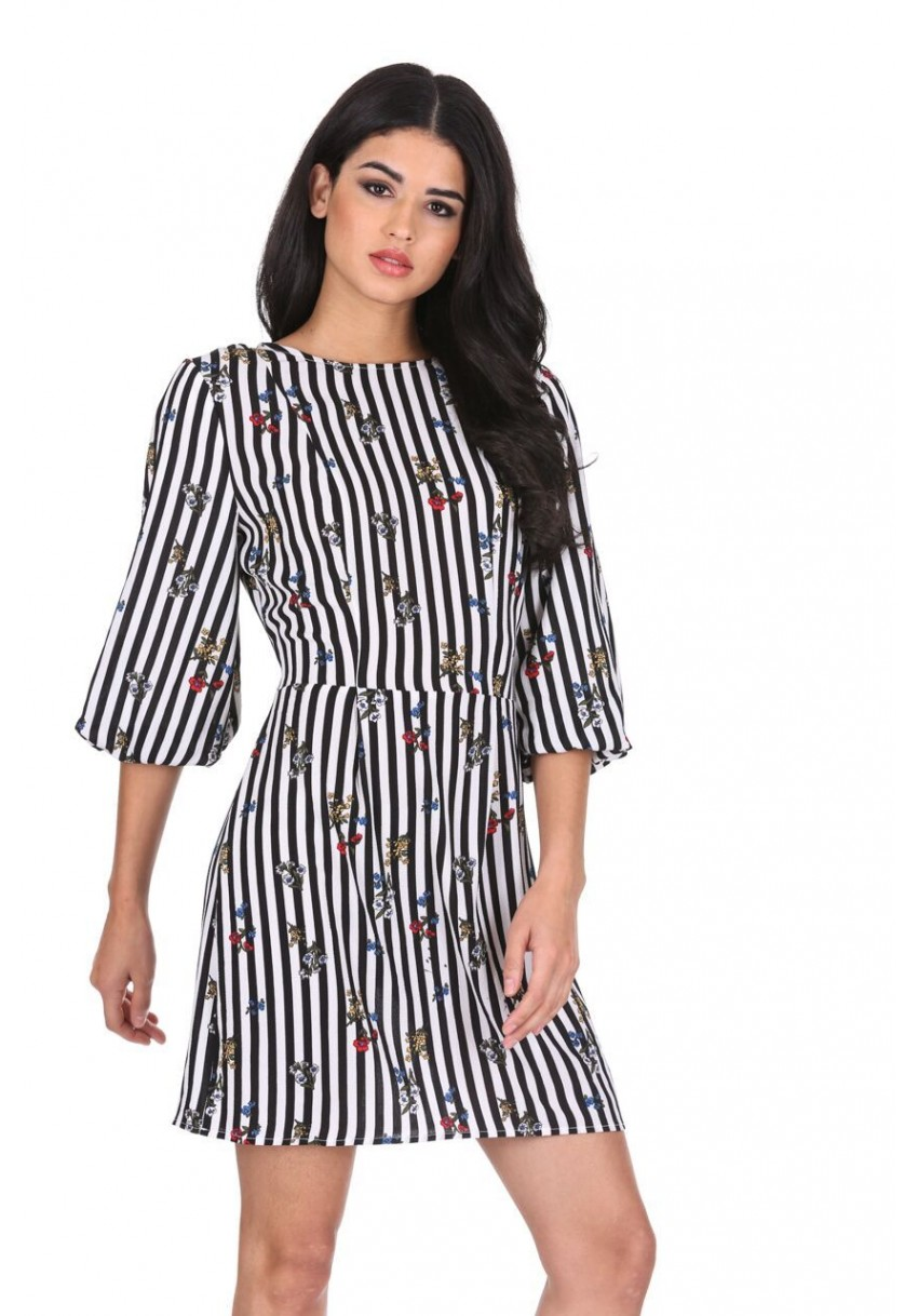 4c4f067fa096 Details about AX Paris Women Floral Mini Skater Dress Pinstripes Bell Sleeve  Casual Party