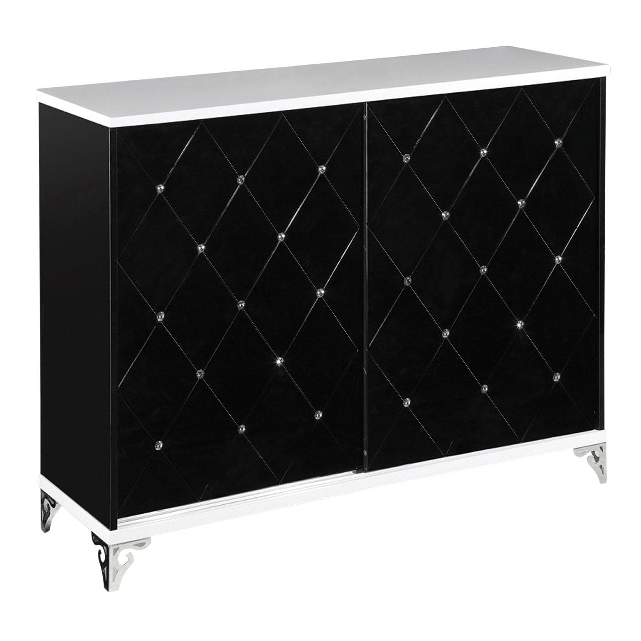 Radiance Sideboard Sliding Door Black White High Gloss Cabinet