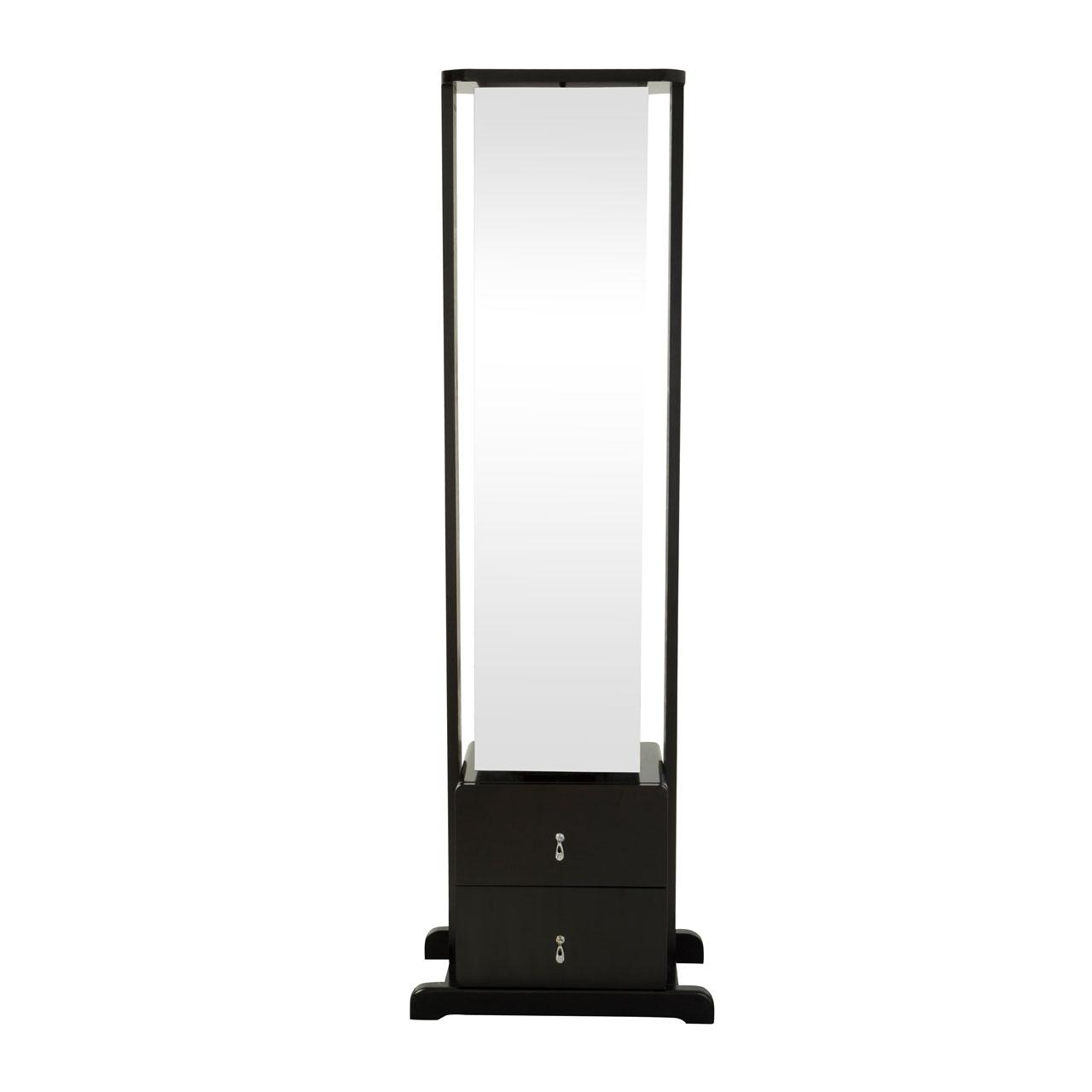 Floor Standing Mirror Black 2 Drawers & 4 Shelves Revolving Bedroom ...