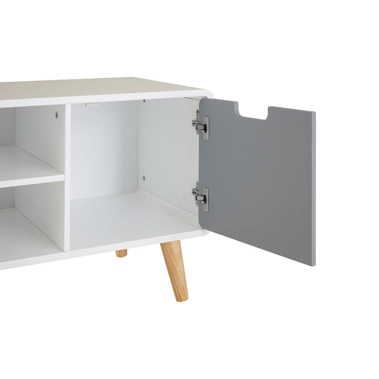 7d70579cb2c Milo TV Stand Media Unit White   Grey Pine Wood Legs Storage Organizer