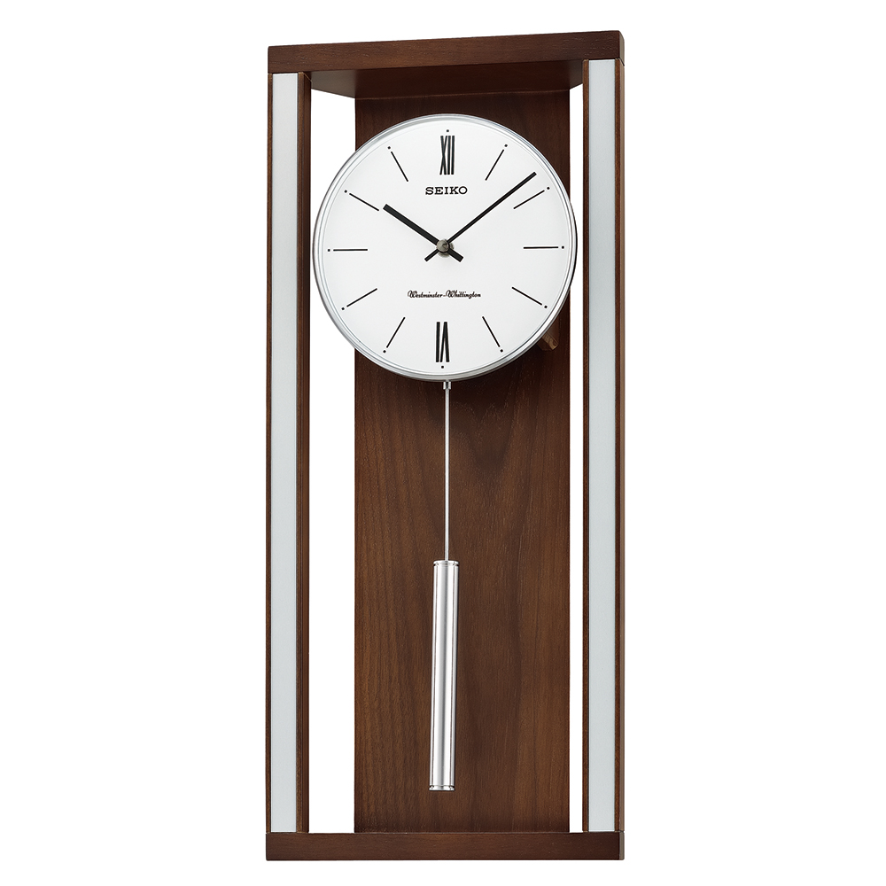 Seiko Dual Chimes Wooden Wall Clock With Pendulum White