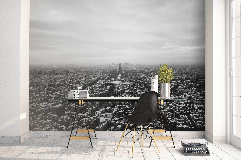 Eiffel Tower Black White Mural Wallpaper Photo Paris France Skyline Home Decor