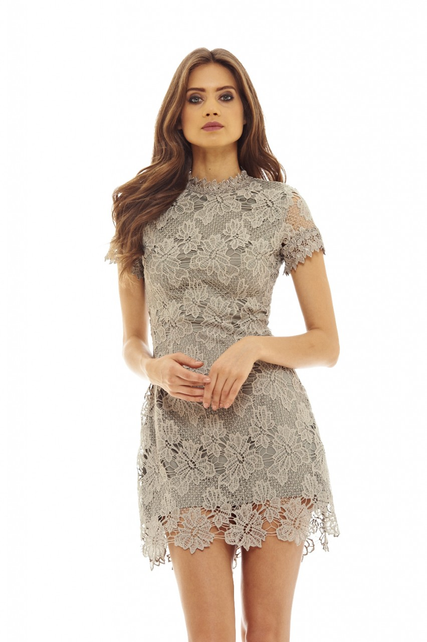 AX Paris Womens Grey High Neck Lace Dress Ladies Stylish Fashion Clothing  14. About this product. Picture 1 of 3  Picture 2 of 3  Picture 3 of 3 ee8127c5d