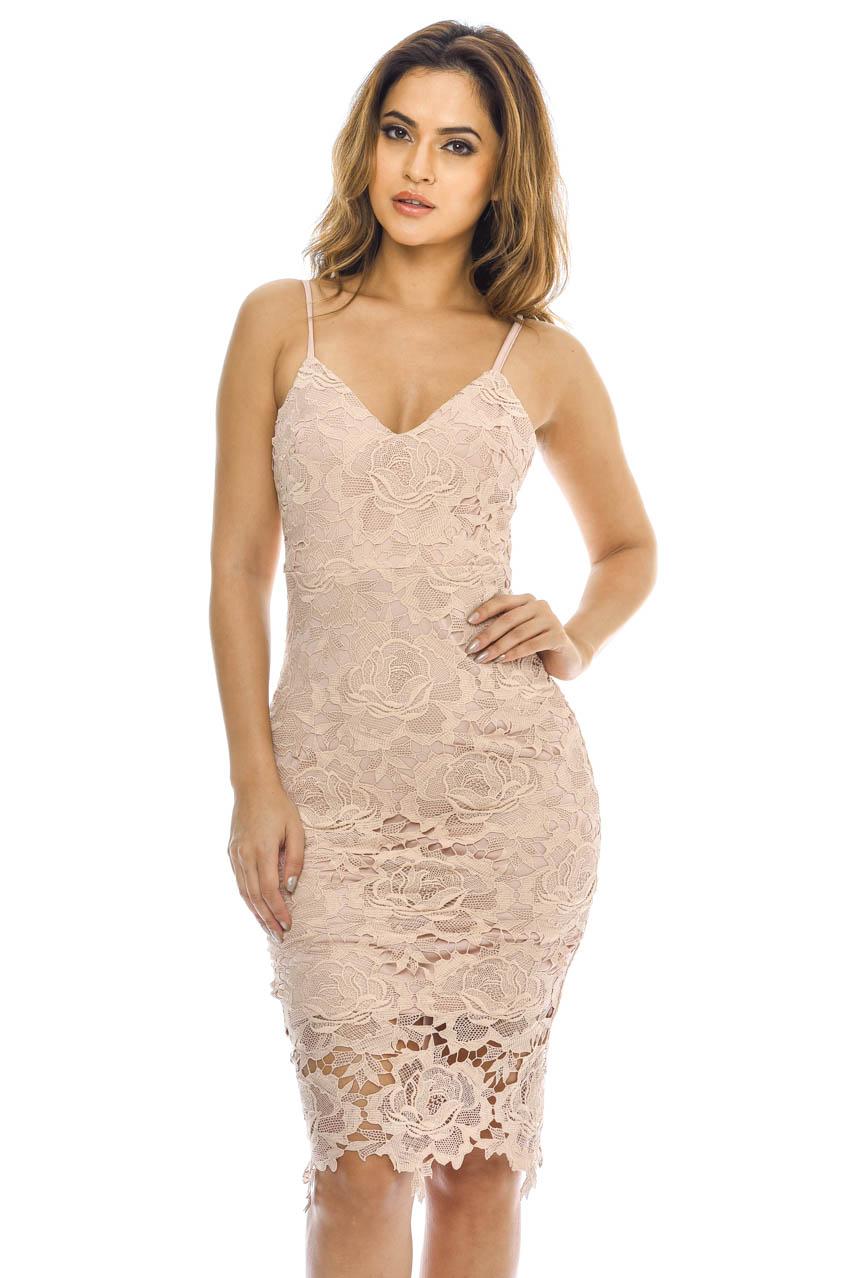 AX Paris Womens Blush Lace Midi Dress eef91373f
