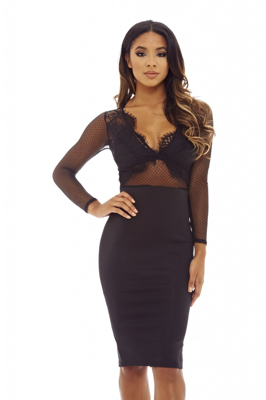 AX Paris Womens Midi Dress Bodycon Black Lace Mesh Long ...