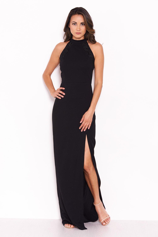 3f811313bdbe AX Paris Womens Black Sequin Panel Detailing Maxi Dress With Thigh ...