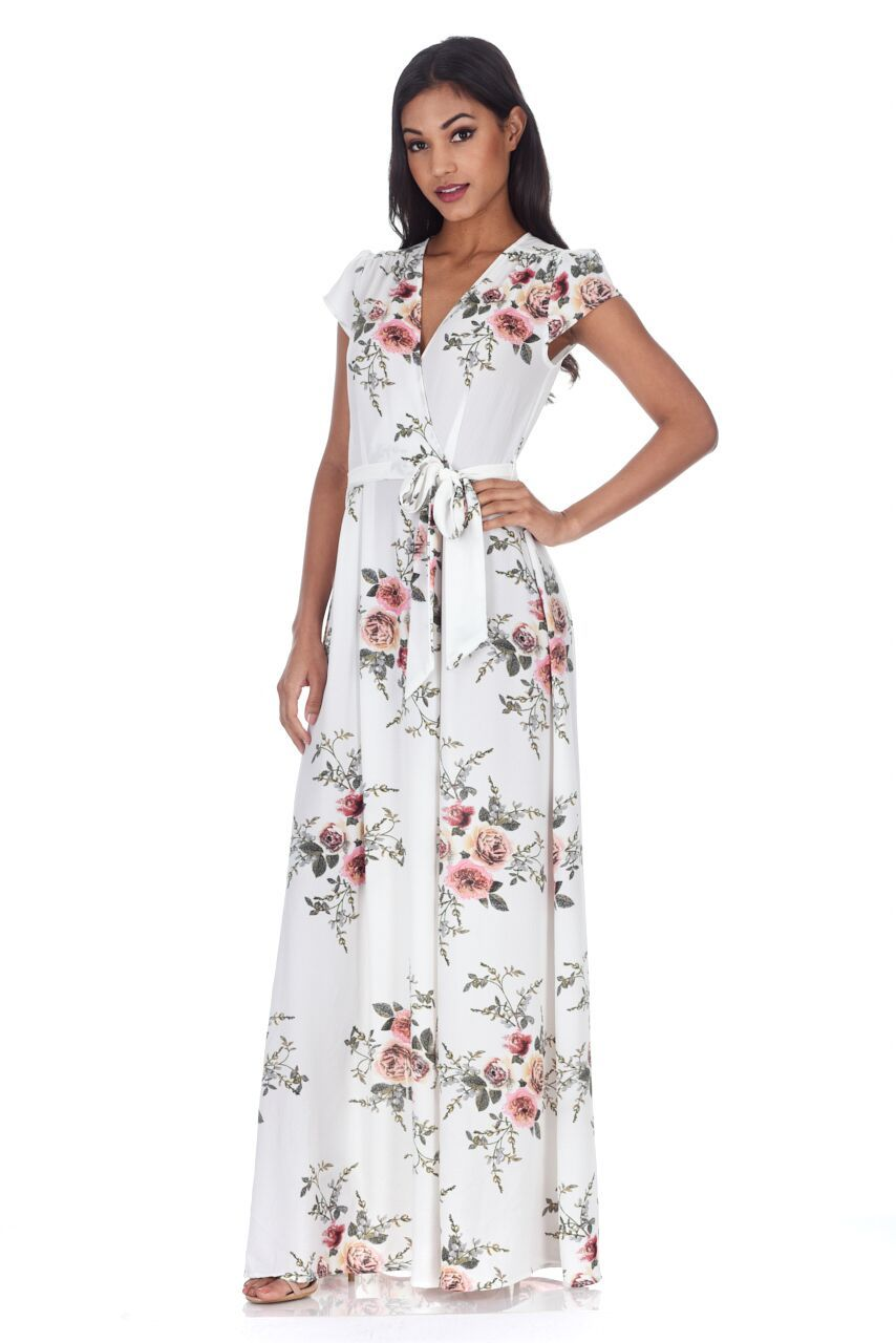 Image is loading AX-Paris-Womens-Cream-Floral-Maxi-Dress-Ladies- bd12292b5