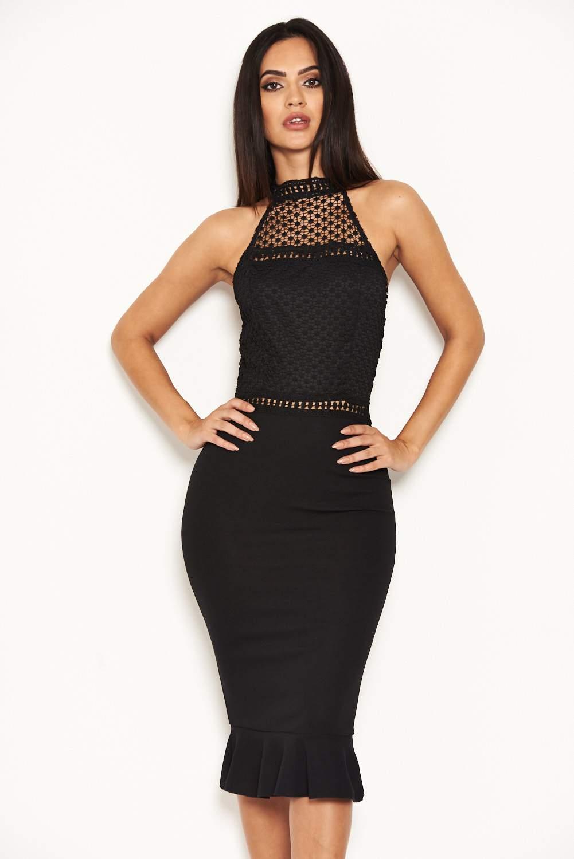 b744177babc AX Paris Womens Black Midi Dress With Crochet Detail Ladies Party