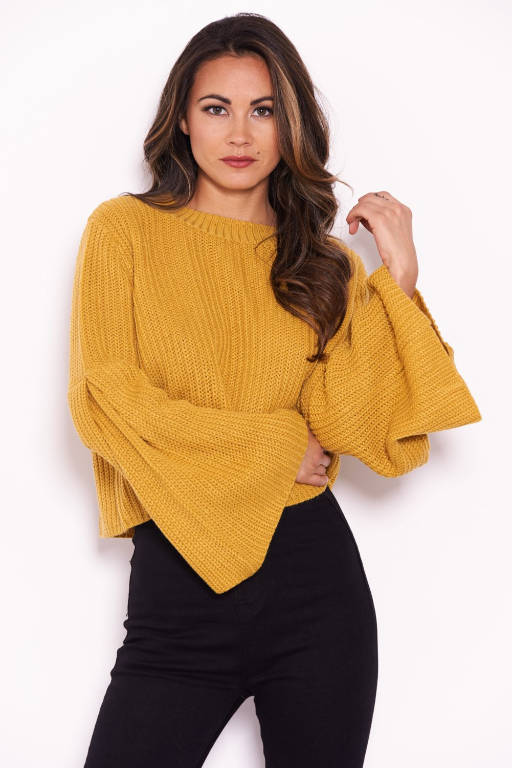0214e7f8820 AX Paris Womens Mustard Flare Sleeve Knitted Jumper Ladies Casual Knitted  Top